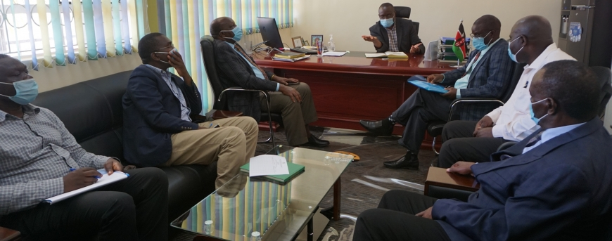 Principal Prof Ogodo M.J Nandi meeting LREB-Universities Committee in his office