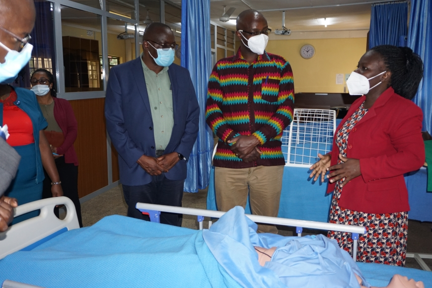 NCCK General Secretary Rev Canon Chris Kinyanjui on a tour of the School of Nursing skills lab